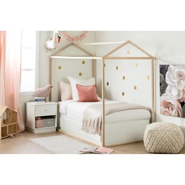 South Shore Sweedi Bed House Frame (White), Kids Unisex