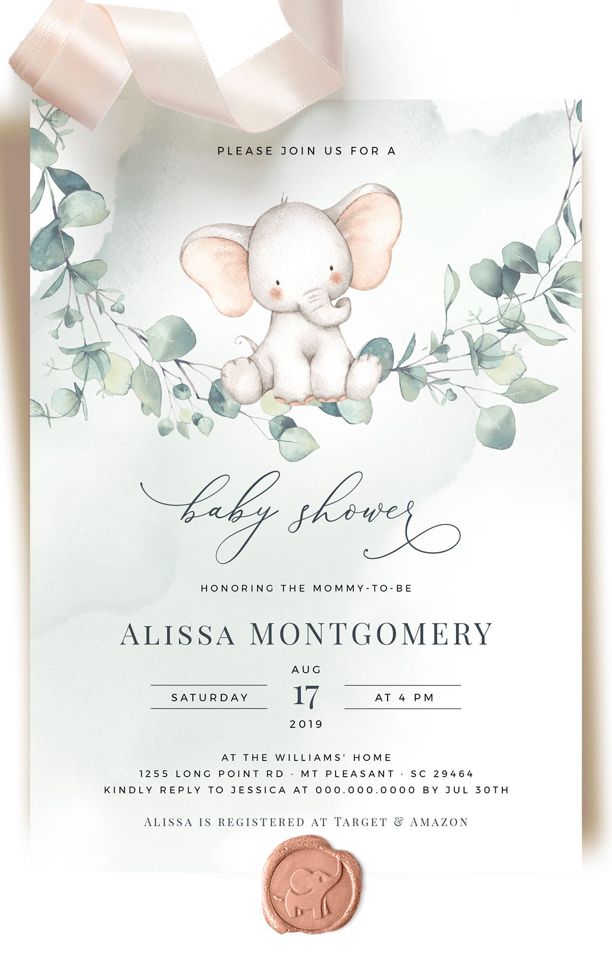 Gender Neutral Baby Shower Invitation Template Watercolor Baby