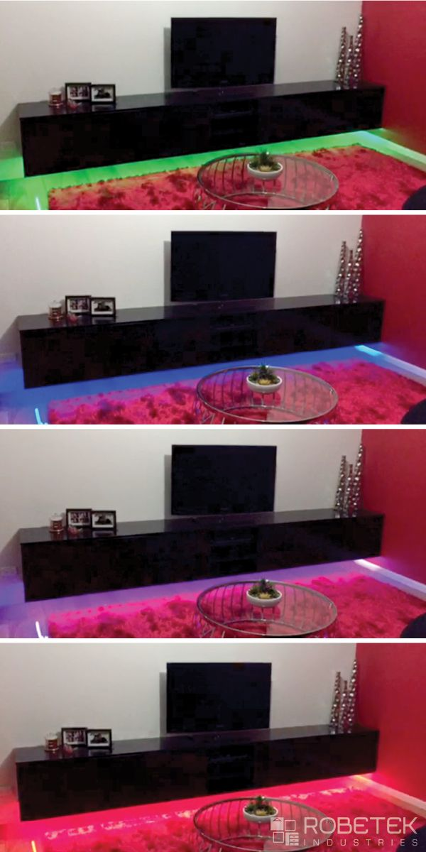 FLOATING TV UNIT WITH LIGHTS This 3.7m long custom floating TV unit is fitted with under-mounted LED strip lighting which is multi function and multi coloured. It also features a semi-gloss black polyurethane finish which was chosen to co-ordinate with the black kitchen bench top in this open plan room. ...It puts on a real show! CALL US ON (02) 9608 8899 FOR A FREE MEASURE & QUOTE (Sydney metropolitan area)