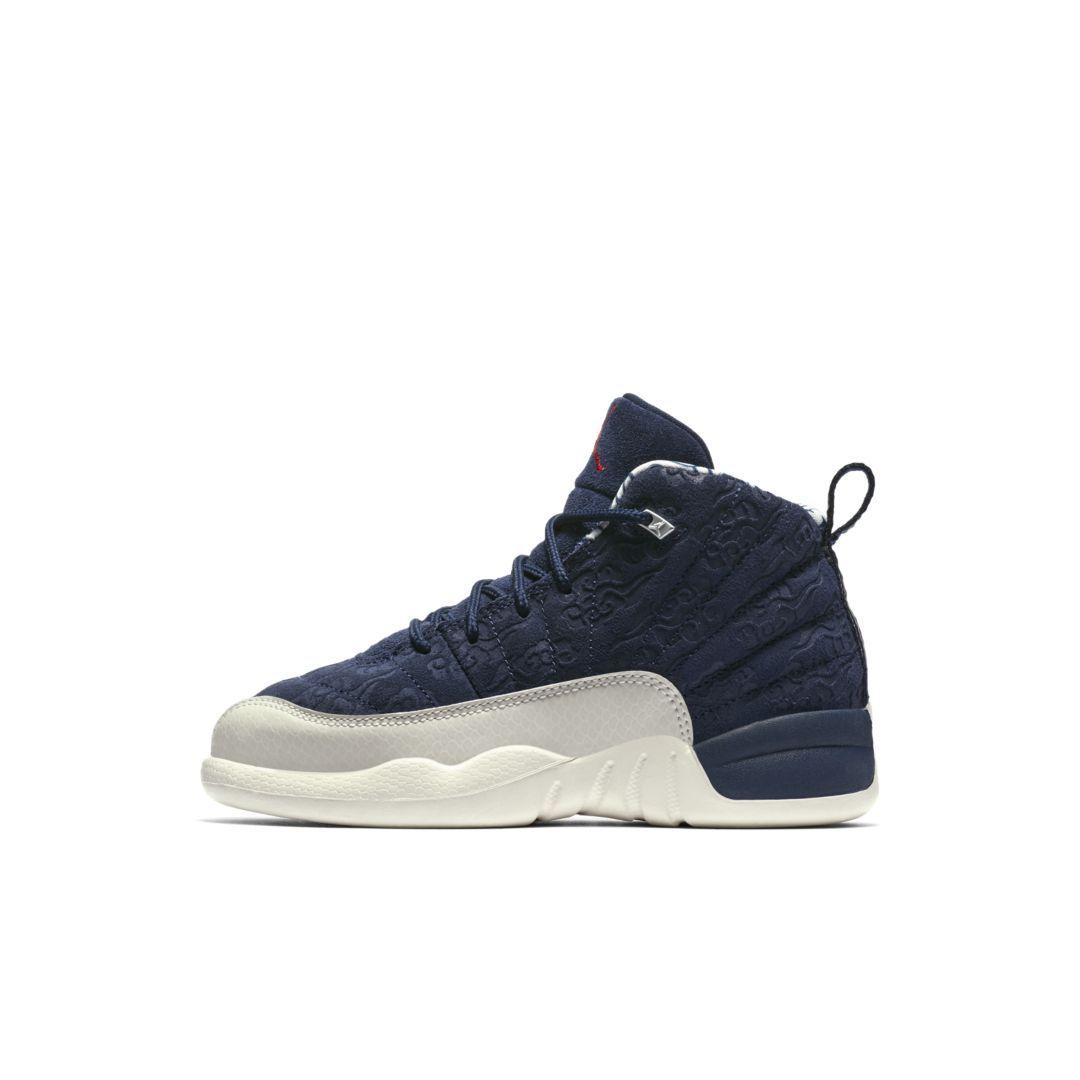 fc9bb6d5bfb Air Jordan 12 Retro Premium Little Kids' Shoe Size 13.5C (College Navy)