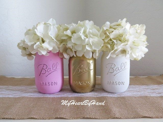 Pink Gold and White Distressed Mason Jars Pink by MyHeartByHand
