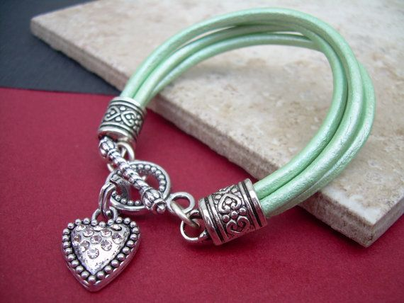 Valentine's Day Leather  Bracelet  With  a by UrbanSurvivalGearUSA, $21.99