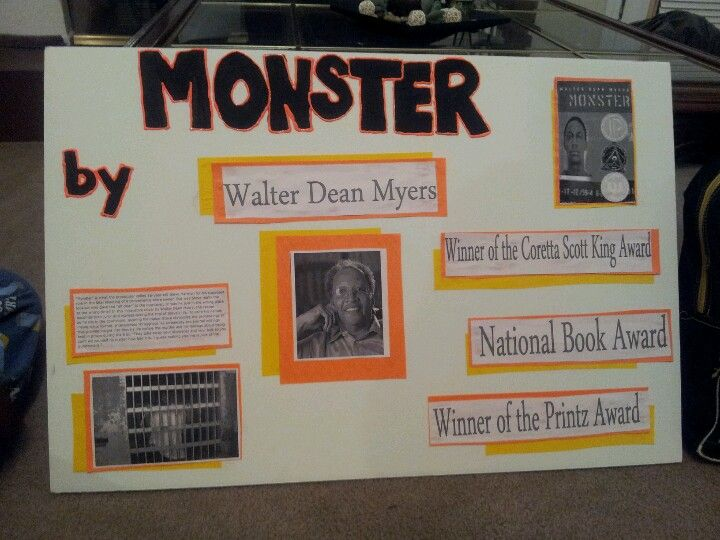 posterboard for the book monster by walter dean myers reading  monster walter dean myers essay posterboard for the book monster by walter dean myers