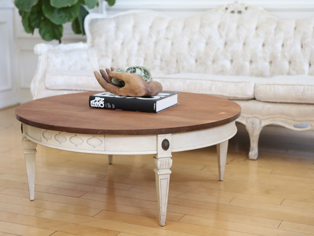 Shabby Chic Wooden Top Vintage Round Coffee Table No252 Coffee Table Round Coffee Table Vintage Desk [ 900 x 1200 Pixel ]