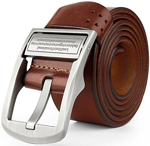 d5e6b034b ATTCL® 100% Men's genuine Leather Belt Vintage Jeans Belt,t10-Brown-115cm:  Amazon.co.uk: Clothing