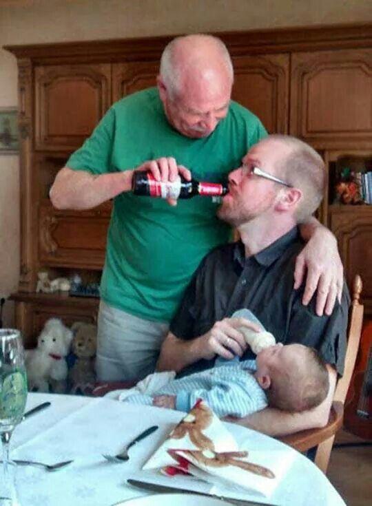 Male bonding ....like father like son like grandpop...one big circle