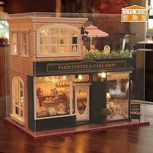 New Kits DIY Wooden Dollhouse Miniature Doll House+Cover+Music Paris Coffee  Shop