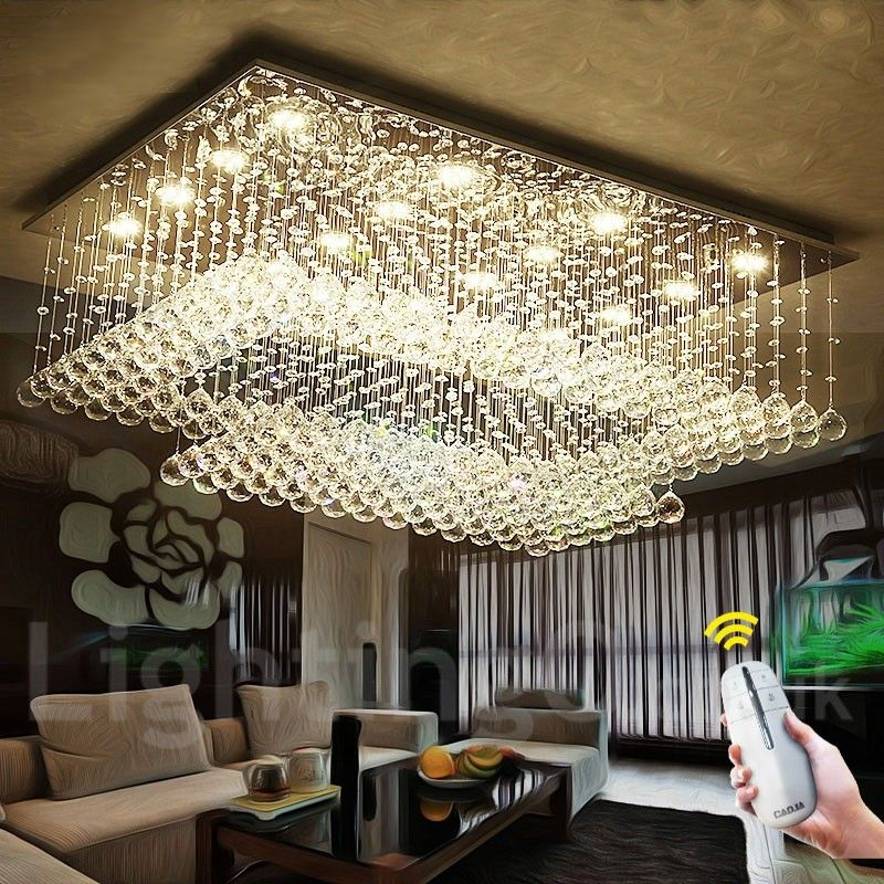 LED Indoor Crystal Chandeliers Modern Pendant Light Ceiling Light Dimmable Lighting Lamp with Remote Control
