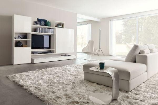 Weisses Wohnzimmer Hochglanz Wohnwand Schaggy Teppich