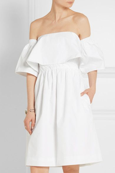 Paper London | Katia off-the-shoulder cotton-poplin dress | NET-