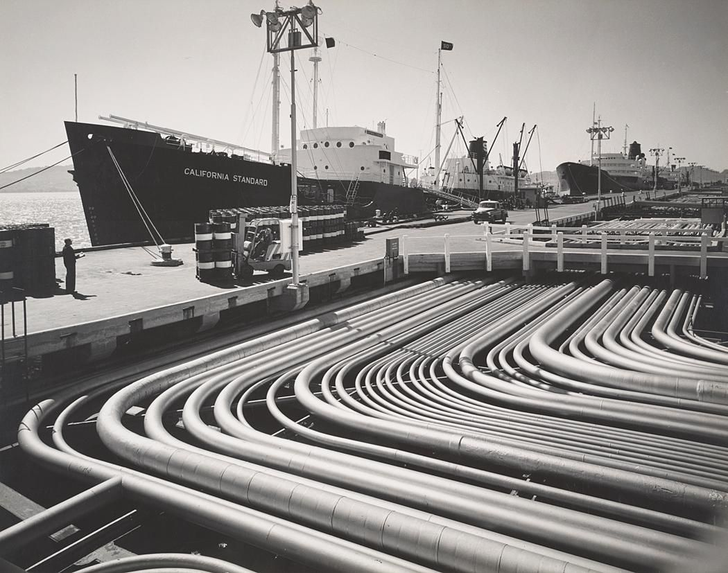 1953 Standard Oil Tanker and Depot, Richmond, California by Ansel Adams 84.90.75
