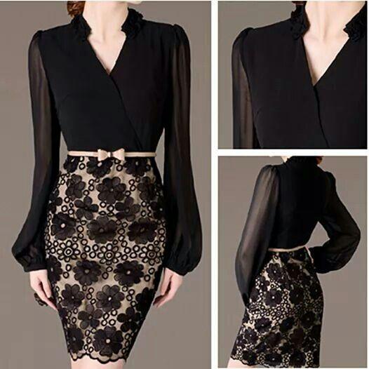 Falda de encaje. Beige y negro. Ropa elegante. Femino.  ec58ec512d9a