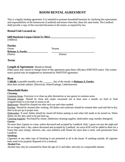 Room Rental Agreement Template Free Download, Create