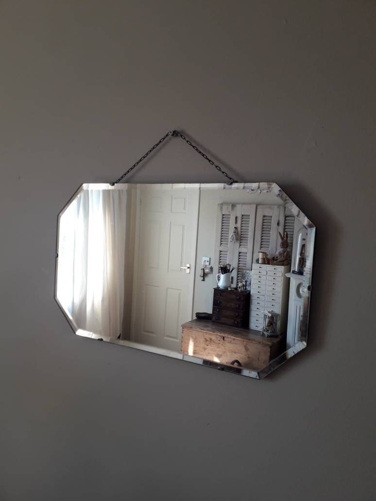 Vintage 1930s Frameless Eight Sided Mirror With Hanging Chain Etsy Mirrors With Chains Vintage Mirror Mirror