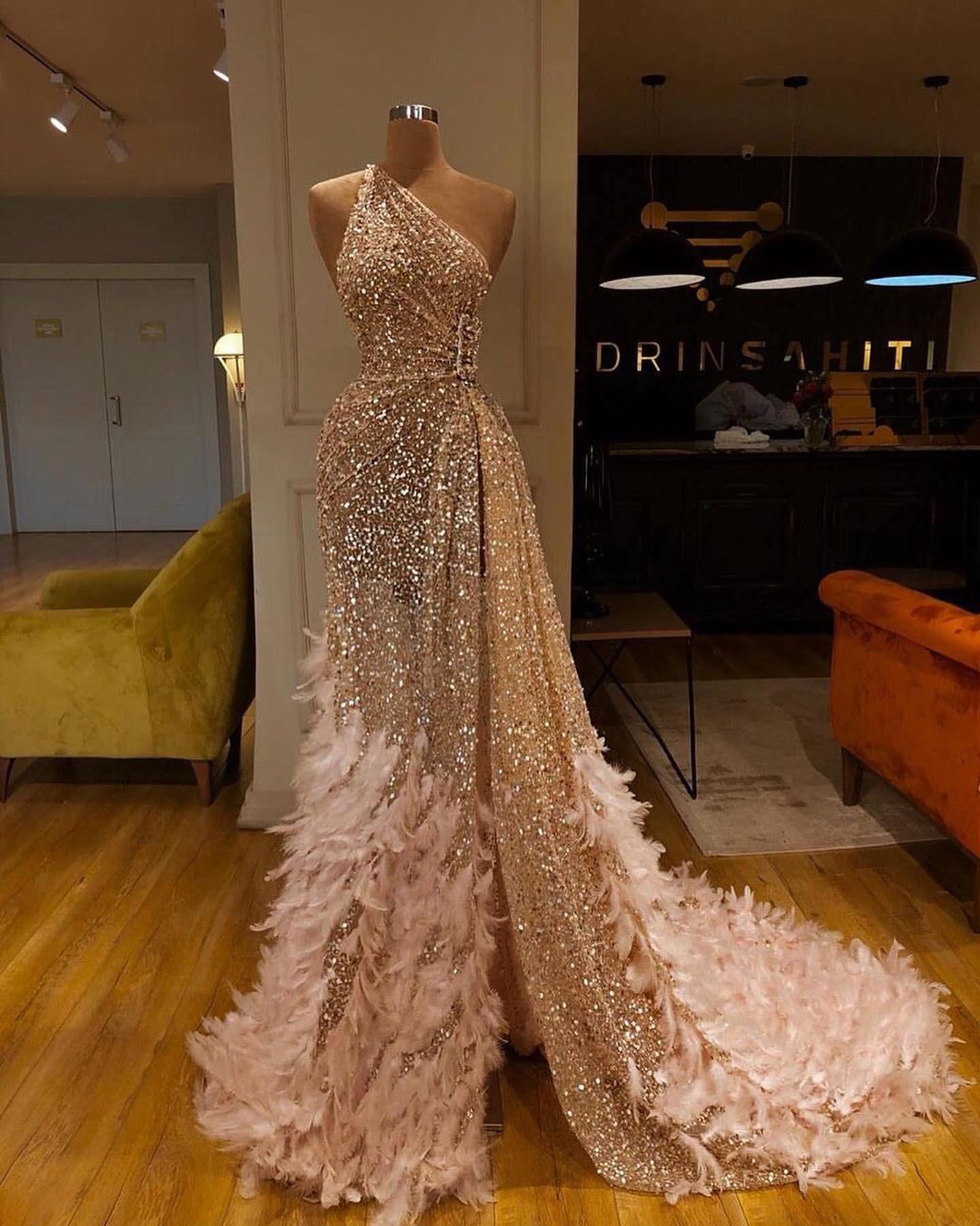 Luxus Abendkleider Lang Mit Glitzer  Designer dresses couture
