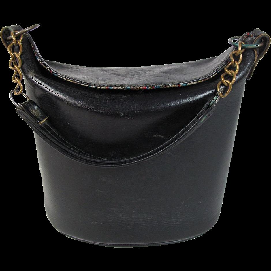 1950+Purse+Styles   Vintage 1960's Black Leather Bucket Style Handbag