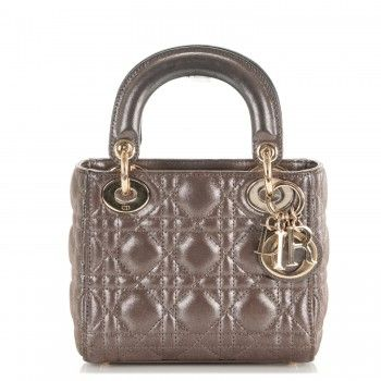 CHRISTIAN DIOR Metallic Calfskin Cannage Mini Lady Dior Brown