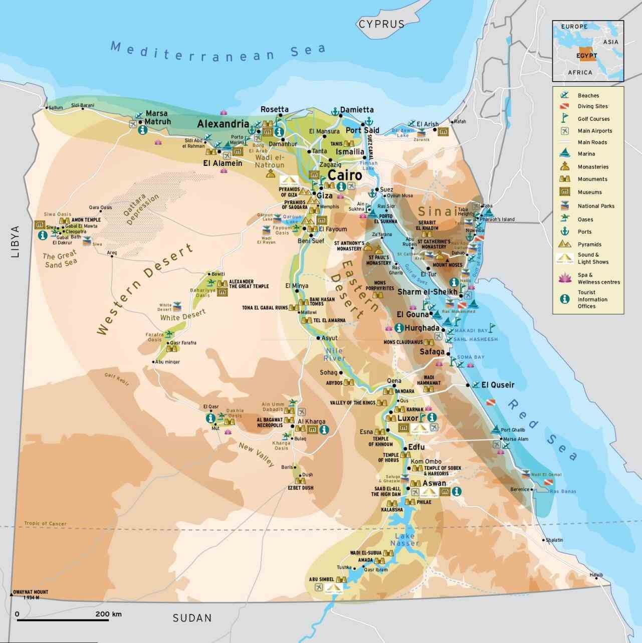A Resort Town On The Red Sea Coast Of From Carta Interactive - Map of egypt online