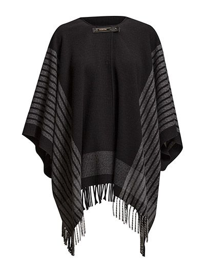Patrizia Pepe CAPE COAT PATTERNED FABRIC WITH FRINGE