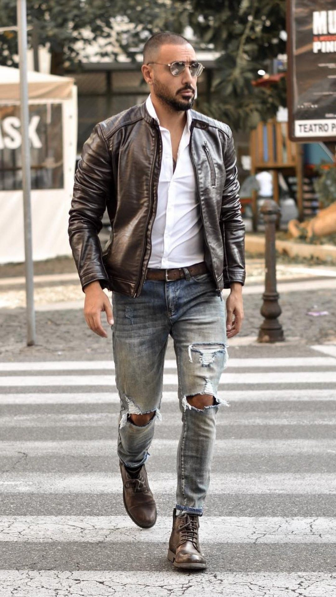 Bald guy with leather jacket and boot for 2018 style