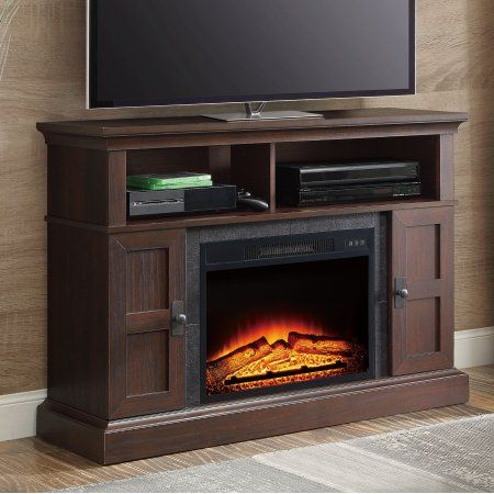 Whalen Media Fireplace Console For Tvs, Dark Cherry Wood Fireplace Tv Stand