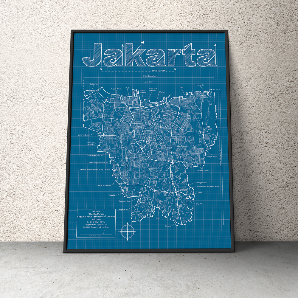 Jakarta Indonesia Wall Map Blueprint Style Maphazardly Street Map Wall Maps Blueprints