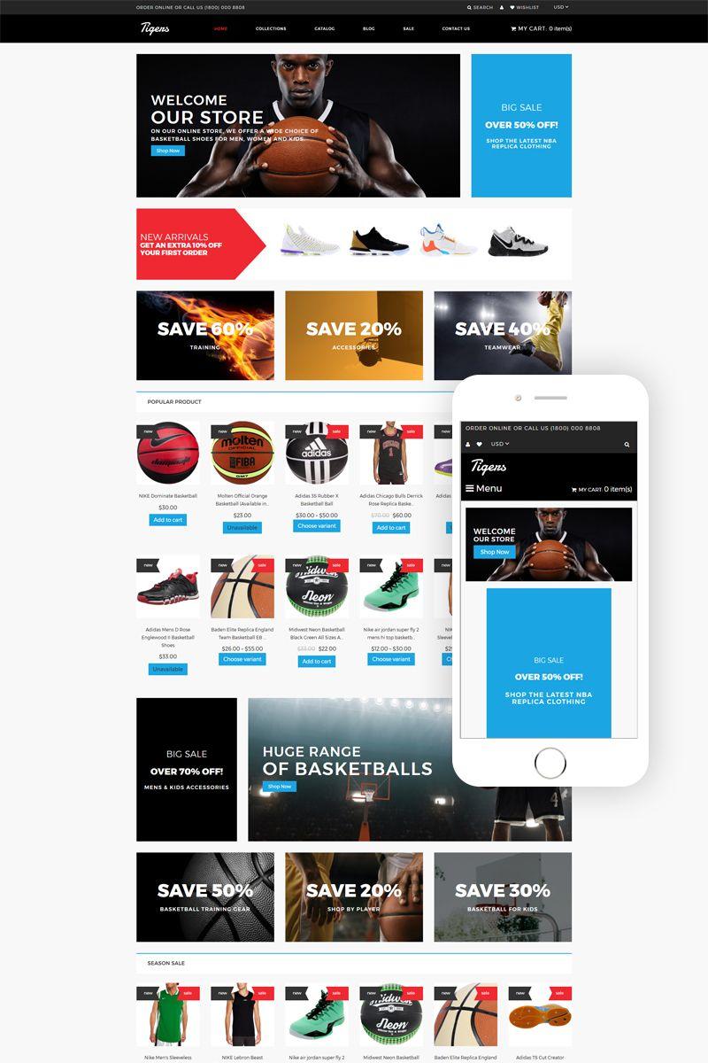 Tigers Basketball Store Modern Shopify Theme 79975 Basketball Store Web Design Software Web Design