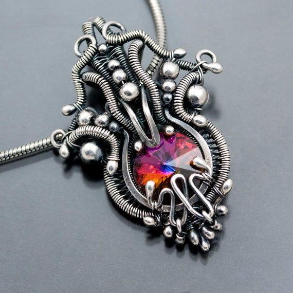 Swarovski Crystal Pendant Fine Silver Wire Weave By Sarah n Dippity ...