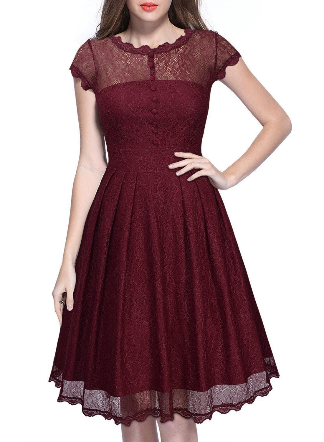 Elegant lace short sleeve aline kneelength dress uñas