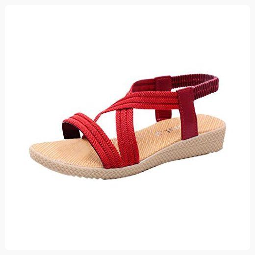 Summer Sandals Inkach Women Flat PeepToe Shoes Bandage Bohemia Sandals