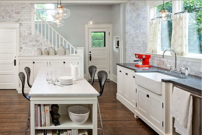 This kitchen is amazing with white cabinets marble subway tile farmhouse sink and the original also want ideas for pinterest sinks wall tiles