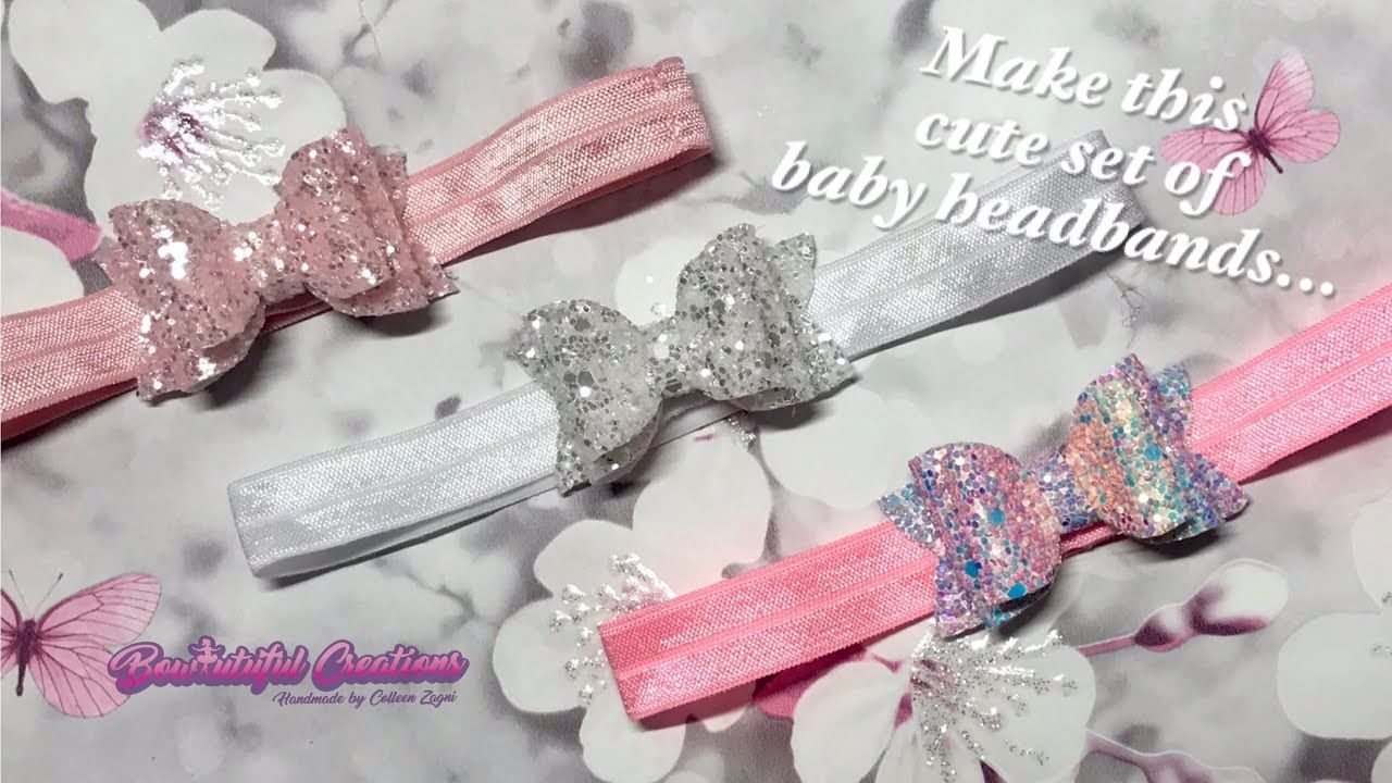 Hair bow tutorial: how to make baby headbands with glitter fabric bows #fabricbowtutorial