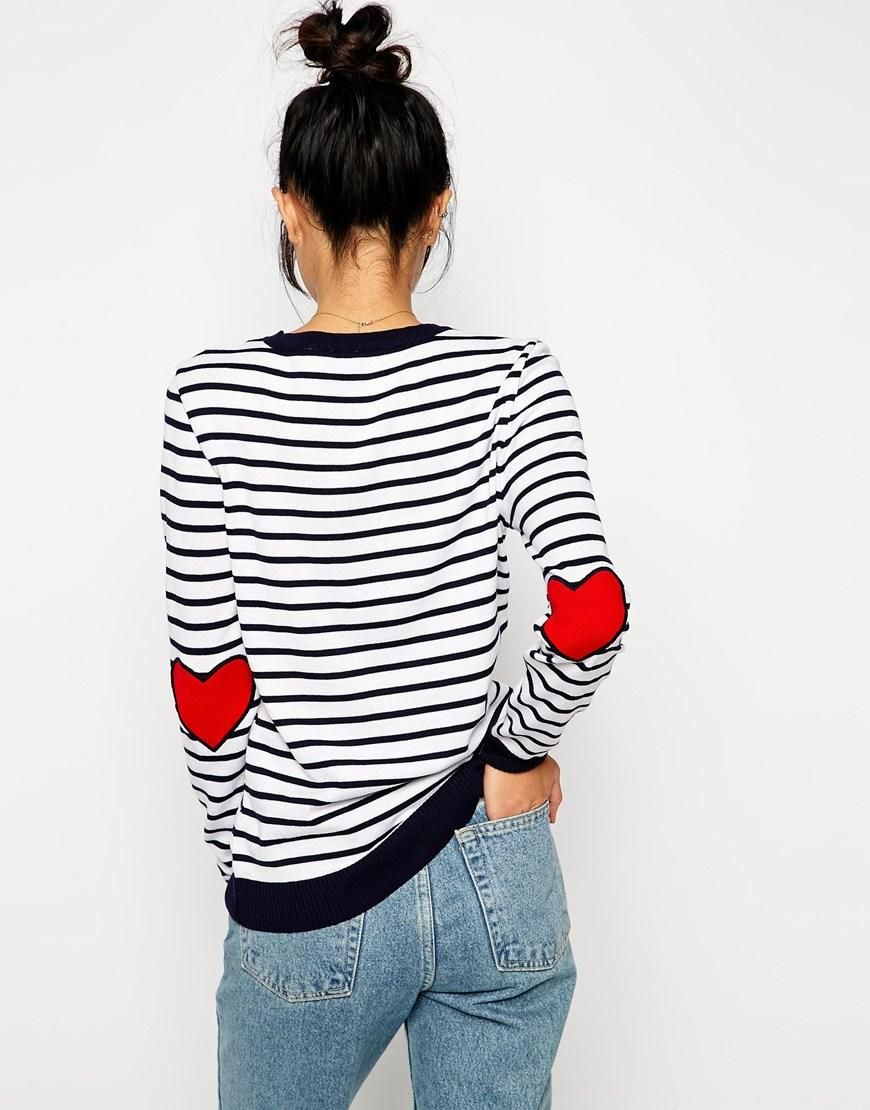 Asos stripe jumper with heart elbow patch at