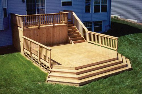 8 X 16 Upper Deck W 16 X 16 Main Deck At Menards Decks Backyard Building A Deck Diy Deck