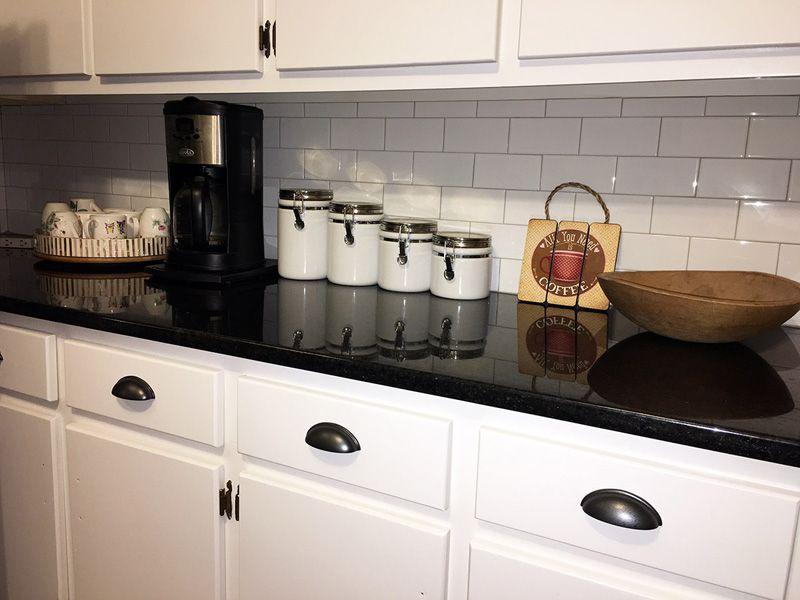 Soho Subway Tile And Black Pearl Granite Vintage Tiles Kitchen Black Tiles Kitchen Kitchen Countertops