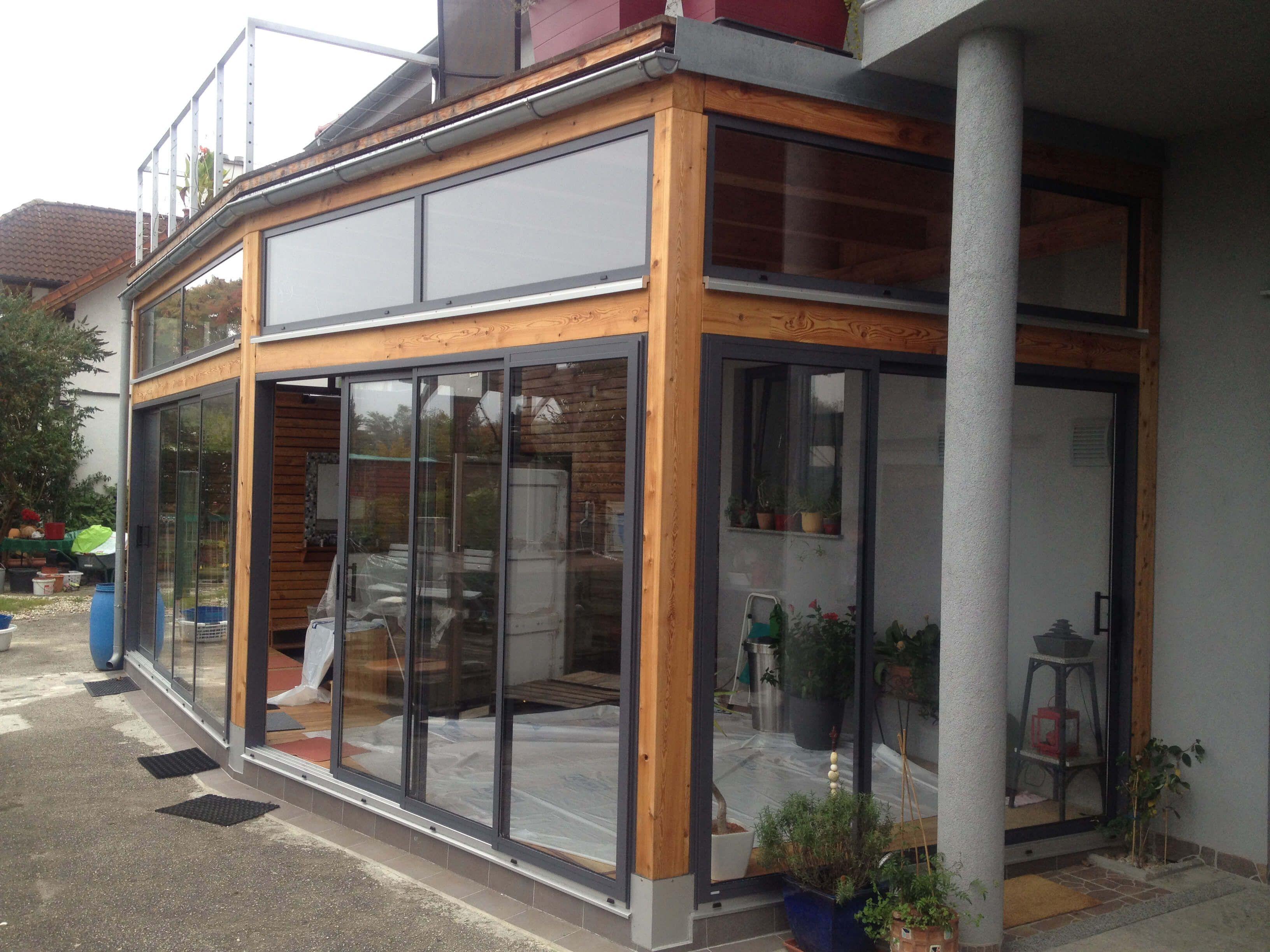 anbau mit schiebefenster in holzkonstruktion hausfasade pinterest schiebefenster. Black Bedroom Furniture Sets. Home Design Ideas