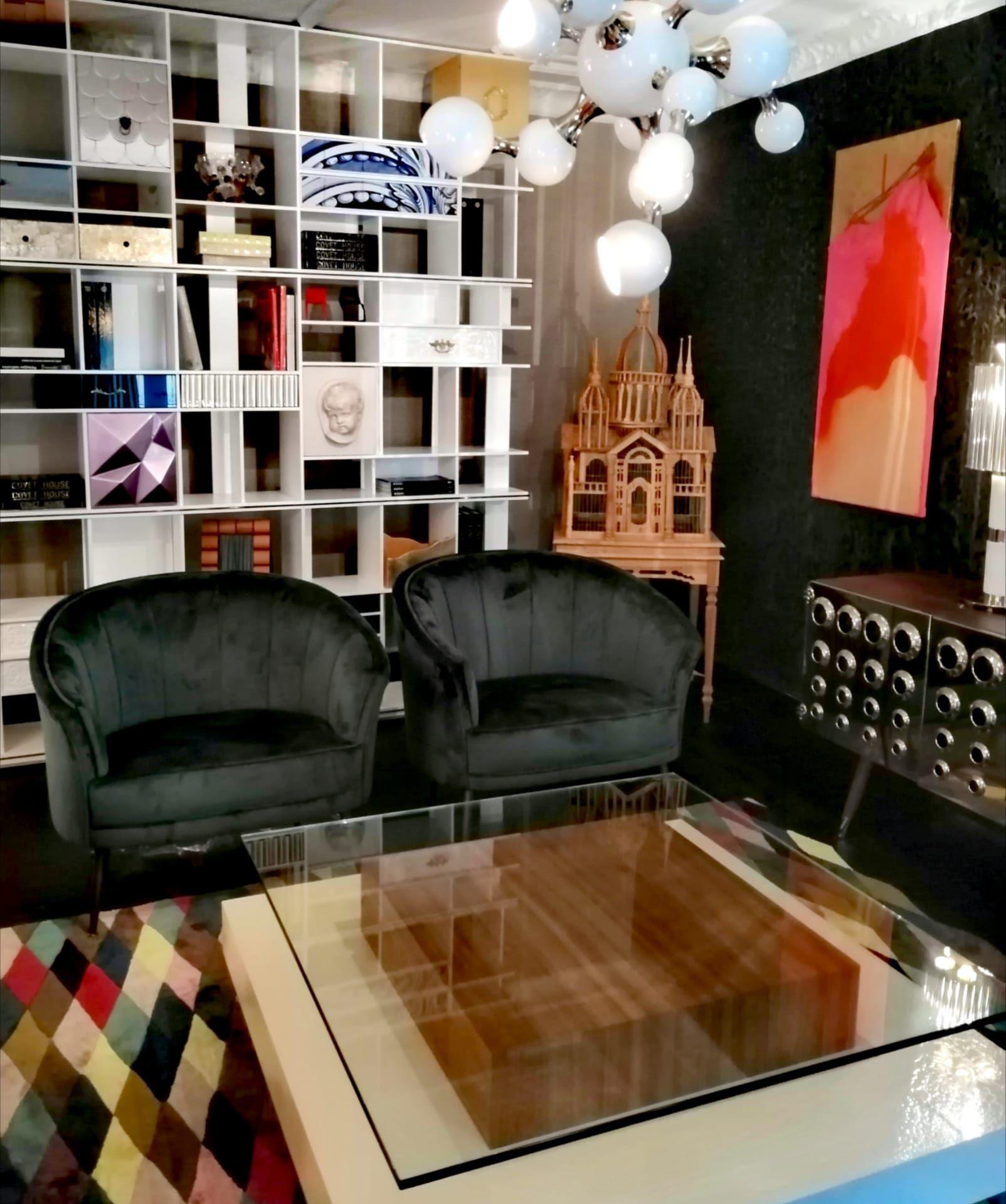 Green Velvet Armchair For Modern Living Room Luxury Furniture Showroom Luxury Living Room Design Furniture Showroom [ 1920 x 1604 Pixel ]