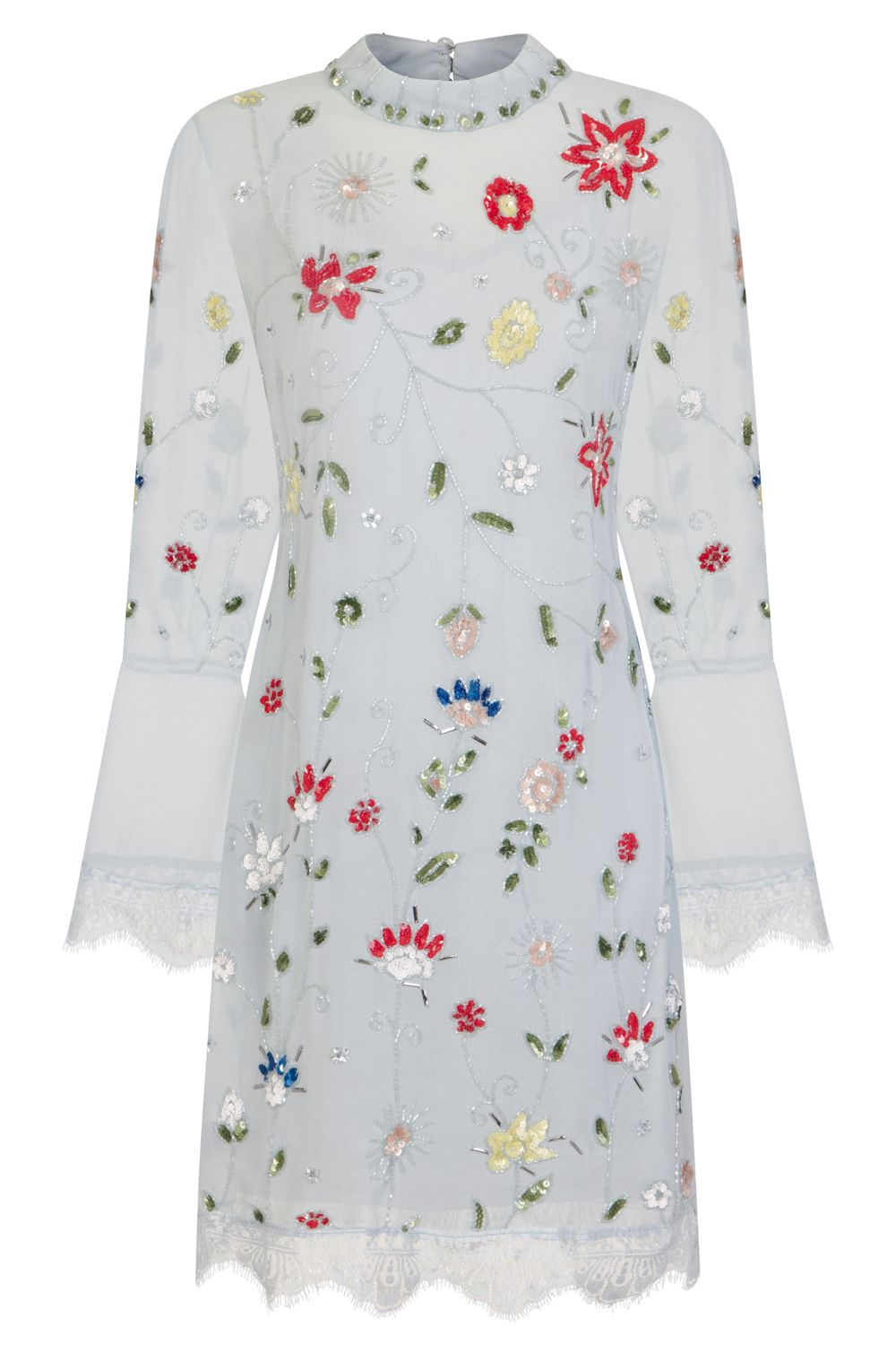 Frock and frill felixa light blue long sleeve mini floral dress