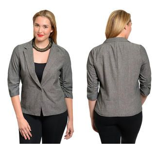 d11e337857046 Stanzino Women s 3 4 Sleeve Plus Size Single Button Denim Blazer at Sears .com
