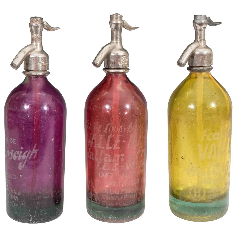 Set Of Three Mid Century Argentinian Seltzer Soda Glass Bottles Glass Bottles Glass Modern Barware