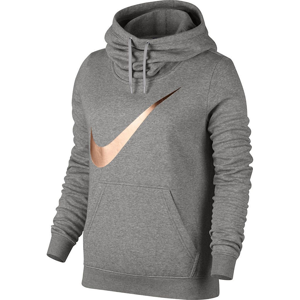 Womens Nike Sportswear Funnel Neck Hoodie Color  Grey with rose gold swoosh  Size  xl Available at Fred Meyer as well 2ef22bc32e