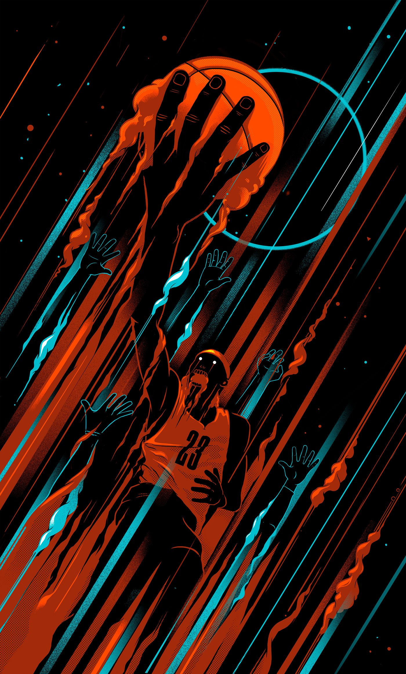 Lebron James, Basketball Illustration done with my boys at