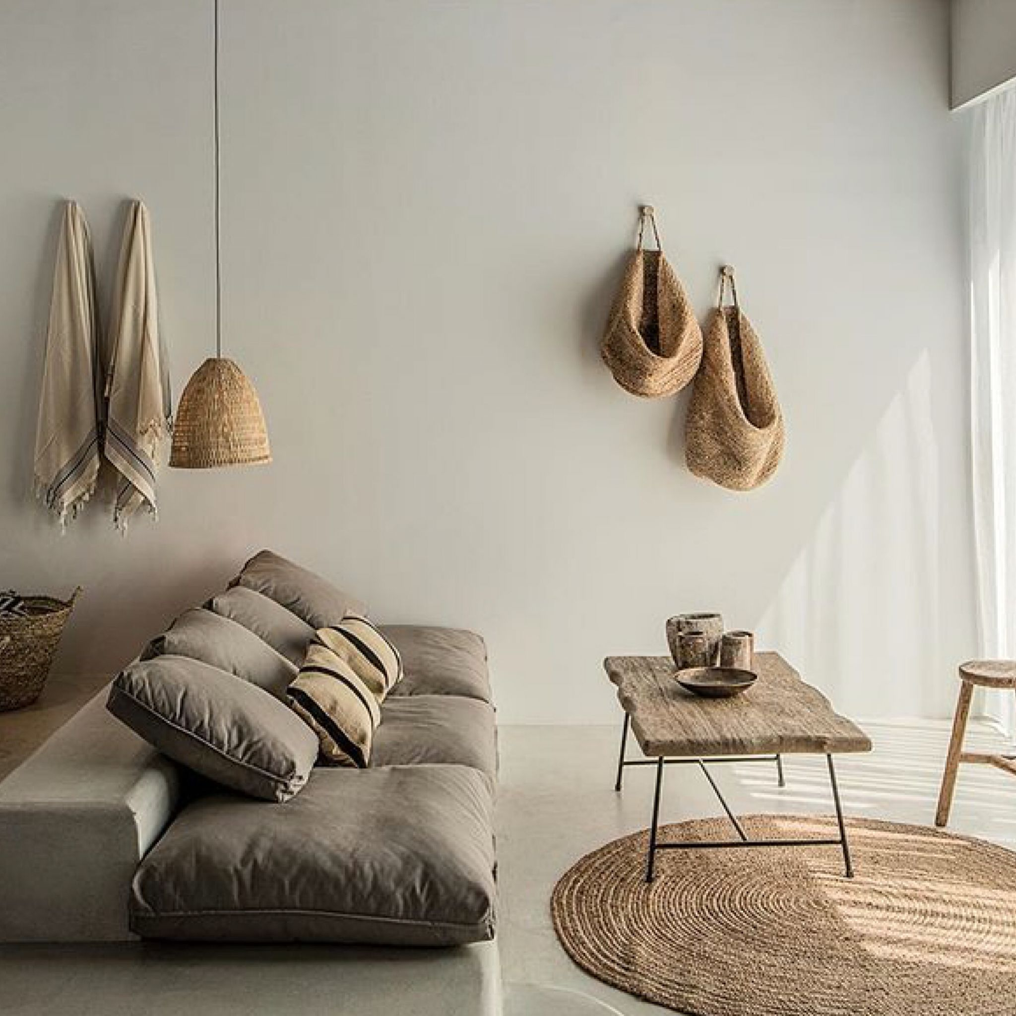 Minimal Linen Wood Organic Interior Decor And Design. Home Decoration  Inspiration. Minimalist Living.