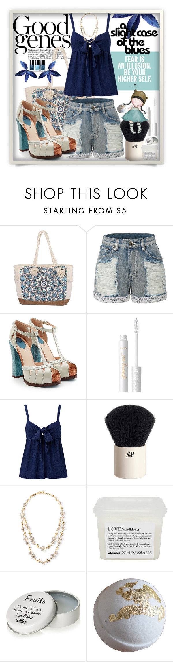"""""""A Slight Case of the Blues"""" by wuteringheights ❤ liked on Polyvore featuring Billabong, LE3NO, Fendi, tarte, H&M, Kate Spade and Davines"""