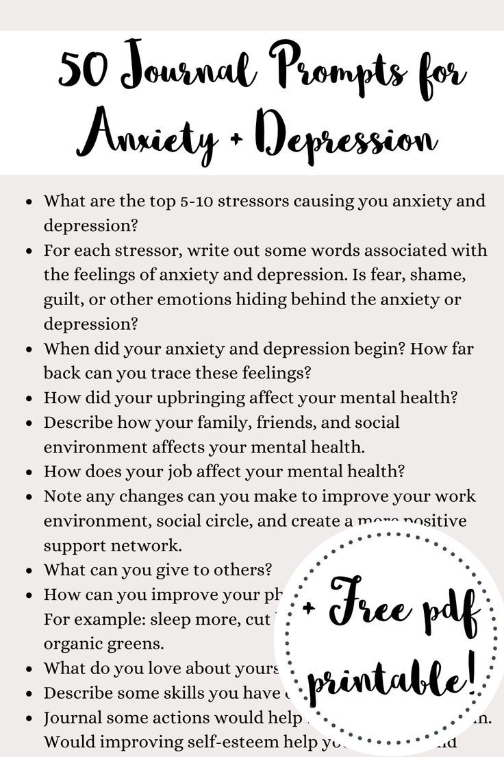 50 Journal prompts for anxiety and depression plus free PDF printable journal prompts to download. T