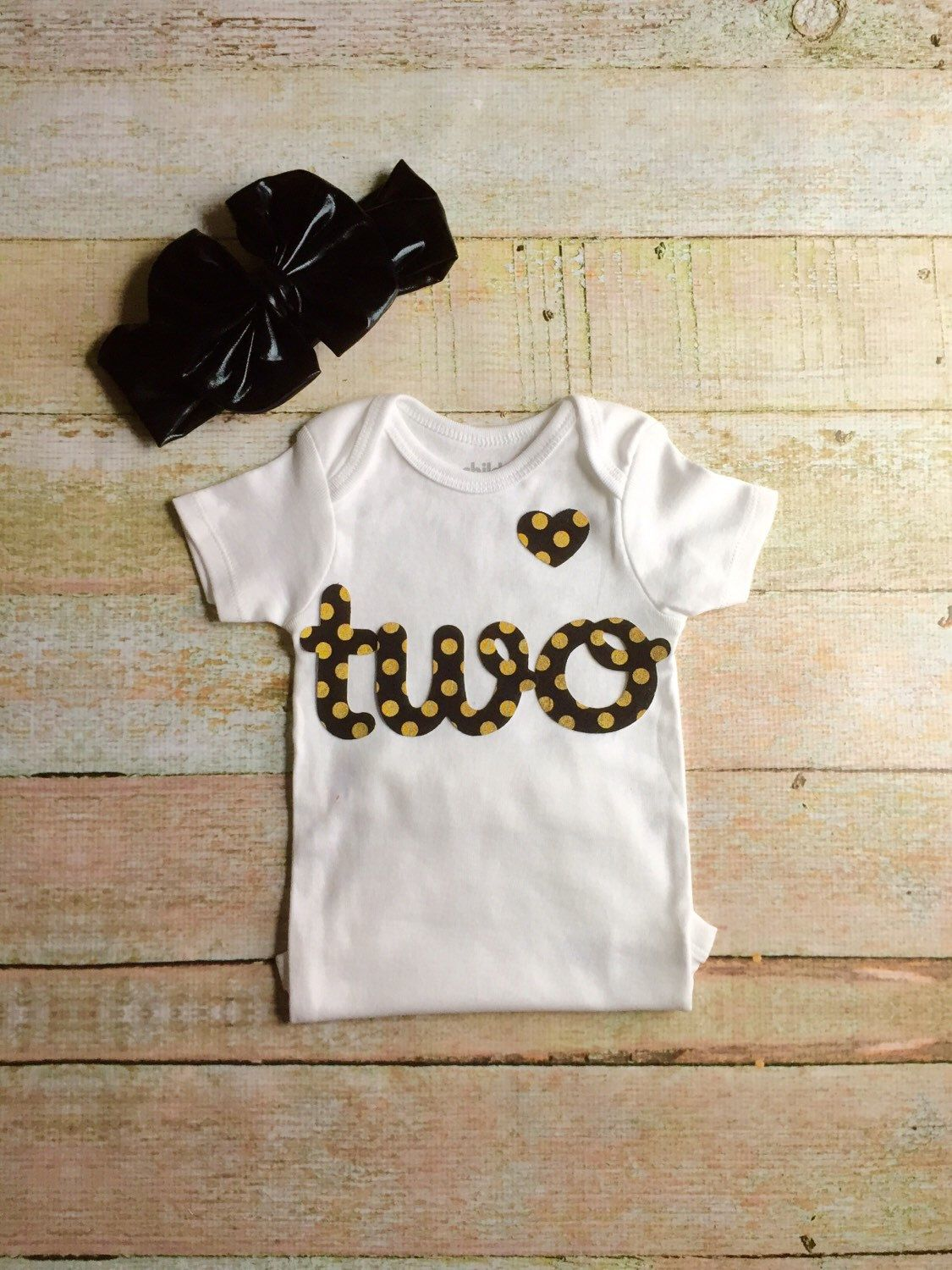 Baby Girl Birthday Onesie - White with Black & Gold Letters with Floppy Bow Headwrap, Baby Second Birthday Onsie, Baby Birthday Shirt by Simpletreeboutique on Etsy https://www.etsy.com/listing/250000918/baby-girl-birthday-onesie-white-with