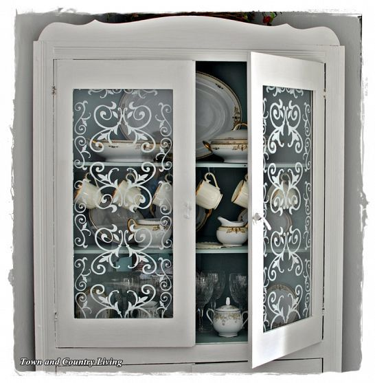 French Glass Kitchen Cabinet Doors: Easy Stenciled Glass Cabinet Doors