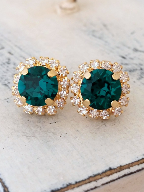 Emerald earrings | emerald green Crystal stud earrings | Bridal earrings | emerald green bridesmaids earrings by EldorTinaJewelry | http://etsy.me/1P8zorz
