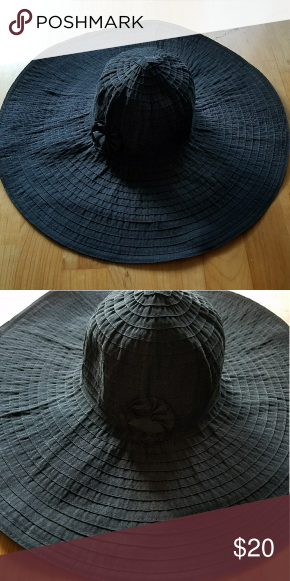 Black Flexible Wide Brim Summer Hat by August hats | Small flowers ...