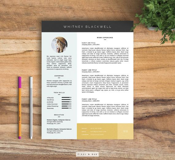 Resume Template 3pk Cover Letter Template Custom by pixelandoak - resume template download microsoft word